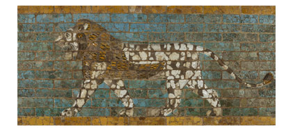 Glazed-brick lion panel from Babylon