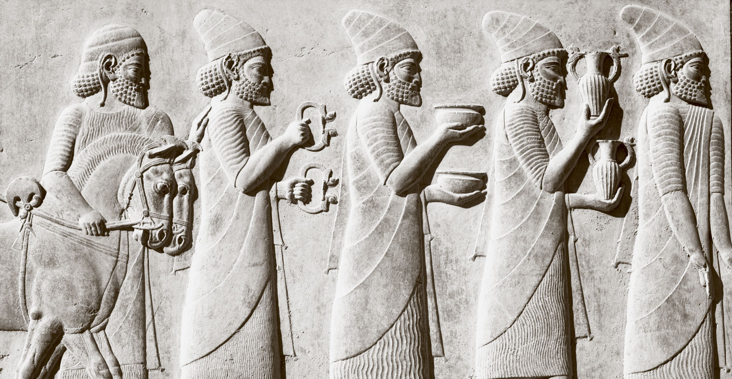 Carved relief showing tribute bearers from Persepolis, Iran
