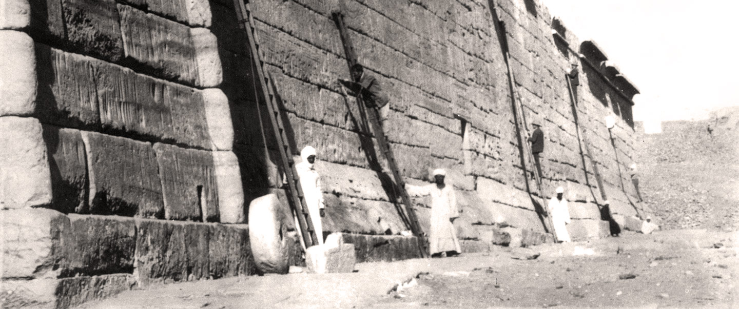 The OI's Epigraphic Survey team copying inscriptions on the temple of Ramesses III